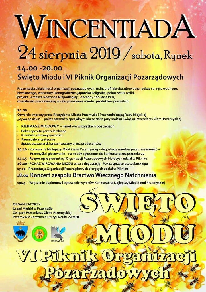 Plakat Wincentiady i Świeta Miodu w Przemyślu