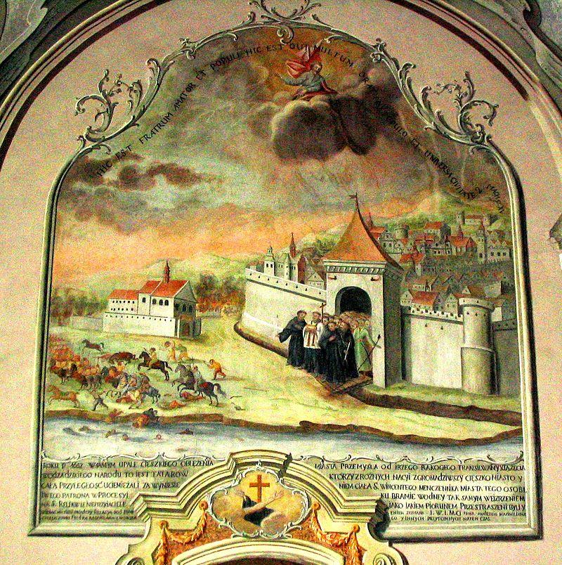 Oblężenie miasta przez wojska Jerzego II Rakoczego w 1657 i procesja z relikwiami św. Wincentego